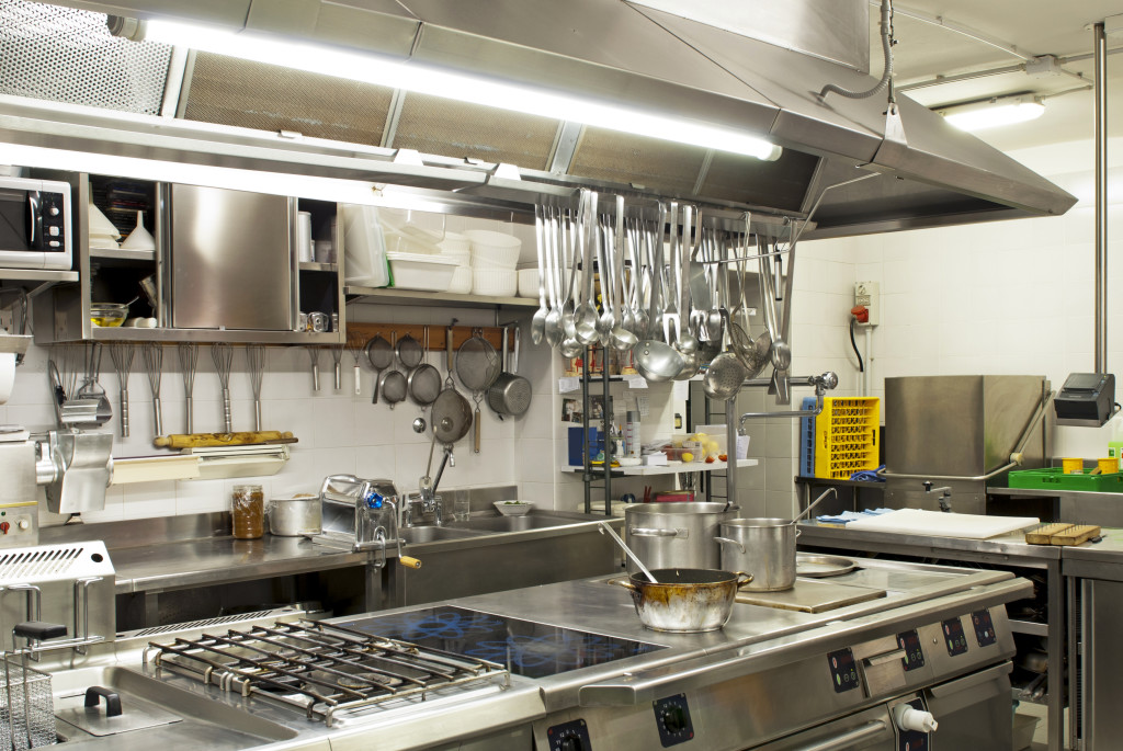 Kitchen in a restaurant with a grease trap